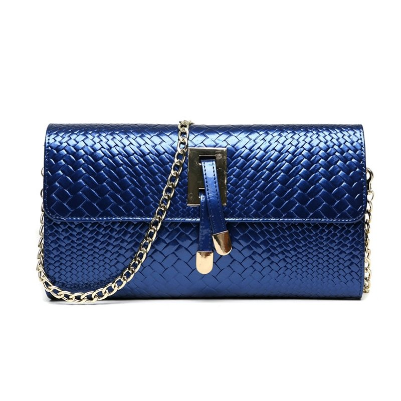 Sapphire Blue Genuine Cowhide Leather Braided Women Evening Party Clutch Wallet Trend Magnetic Closure Chain Flap Crossbody Shoulder Bag