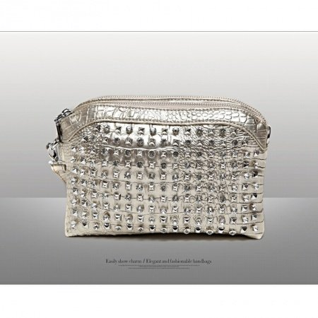Gold Patent Leather Bling Rhinestone Women Evening Party Clutch Wristlet Hipster Embossed Crocodile Rivet Studded Crossbody Shoulder Bag