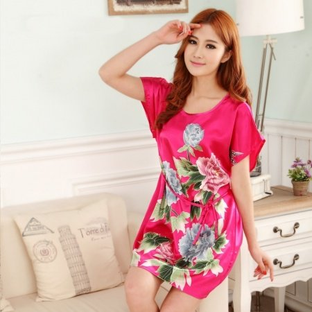 Plum Peony Flower Sexy Elegant One Piece Free Size Girls Pajamas