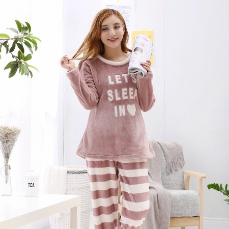 Coffee Long Sleeve Shirt and Stripe Trousers Warm Adorable Flannel Pajamas for Women M L XL