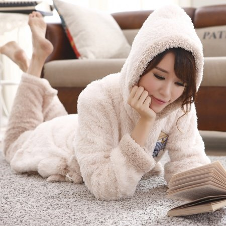 Plain Beige 2 Pieces Flannel Hooded Waist Tie Shirt and Trousers Luxurious Gorgeous Plush Pajamas for Girls M L XL