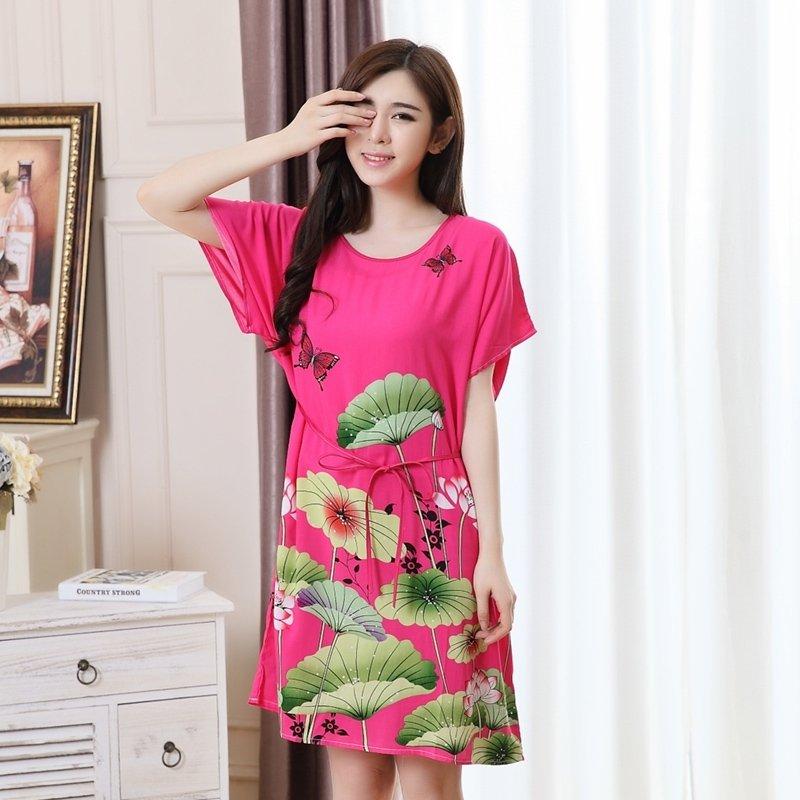 Plum Flower Lotus Print Viscose Midi Dress Short Sleeve 1 Piece Pajamas for Elderly Women M L XL