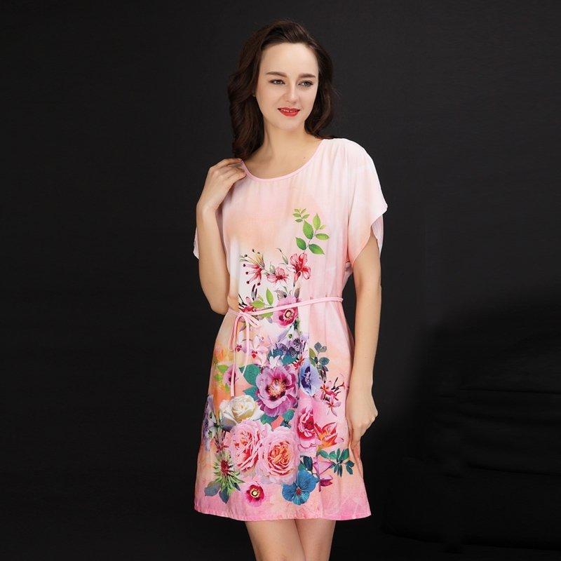 Pink Impression Flower Print Viscose Midi Colorful Dress Women Free Size Pajamas