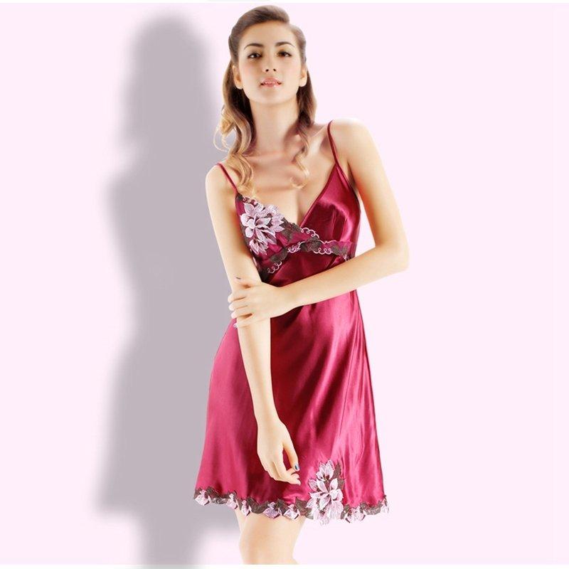 Plum Flower Embroidered Midi Camisole Dress Romantic Fashion Pajamas for Girls M L XL XXL XXXL