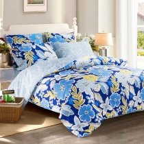 Royal Blue Light Blue Olive and White Wildflower Print Tropical Inspired Rustic Style 100% Organic Cotton Full, Queen Size Bedding Sets