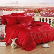 Red and Gold Peony Blossom Print Asian Inspired Noble Excellence Luxurious 100% Egyptian Cotton Full, Queen Size Bedding Sets