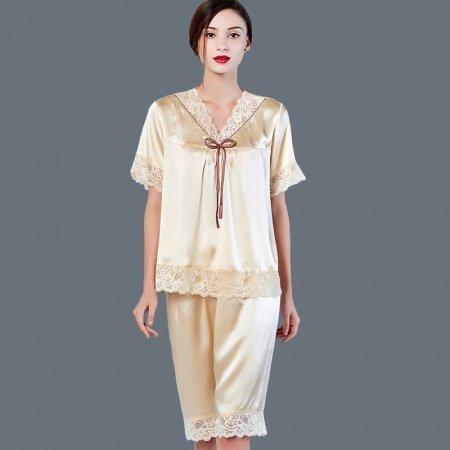 Pale Yellow 100% Pure Silk 2 Pieces Lace Short Sleeve Shirt & Ninth Pants Luxury Elegant Pajamas for Feminine Girly M L XL