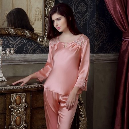 Ruddy Pink 100% Mulberry Silk Lace Embroidery 2 Pieces Pajama Set for Feminine Girly M L XL XXL