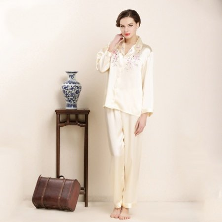 Pale Yellow Embroidered Long Shirt and Pants 100% Pure Silk 2pc Casual Baggy Pajamas for Feminine Girly M L XL