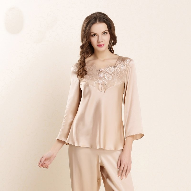 Solid Champagne 100% Pure Silk V-neck with Embroidered Eyelash Lace Trim Spring Autumn Pajamas for Feminine Girly M L XL XXL