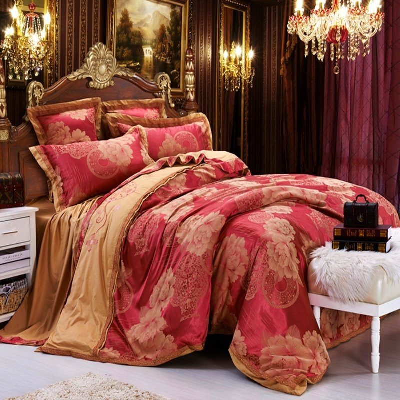 Rose Gold and Burgundy Red Peony Flower Pattern Noble Excellence Embroidered Design Elegant Girls Satin Fabric Full, Queen Size Bedding Sets