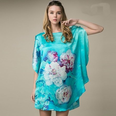 Teal 100% Real Silk Chinese Style Big Flower Print Batwing Sleeve Open Sleeve Midi Nightdress Free Size Pajamas for Women