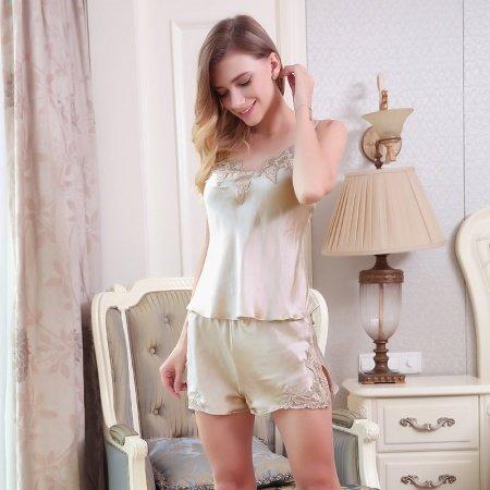Beige100% Pure Silk Spaghetti Strap Shirt with Embroidered Lace Border and Split Shorts Sexy Fashion Pajama M L XL XXL