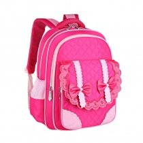 Boutique Rose Red Pink Nylon with Leather Lace Bow Quilted Flap School Backpack Durable Sewing Pattern Girls Preppy Campus Book Bag
