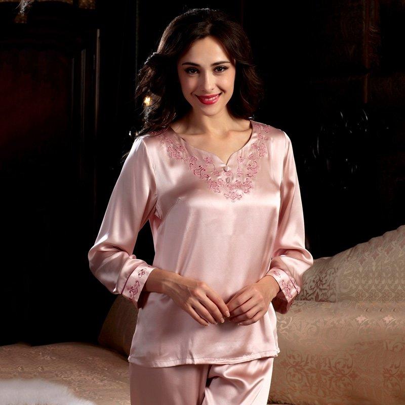 Tea Rose 100% Pure Silk Vintage Silk Pajamas for Women M L XL XXL