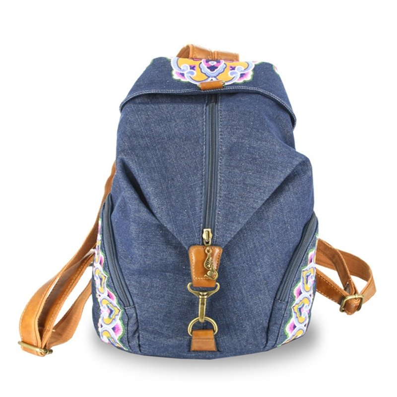 Slate Blue Canvas with Orange Leather Lady Travel Backpack Embroidered Vintage Rococo Pattern Sewing Pattern 12 Inch Laptop Bag