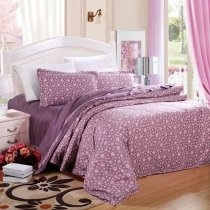 Puce and Mauve Gypsophila Flower Print Masculine Style Old Fashion Shabby Chic Reversible 100% Cotton Queen Size Bedding Sets
