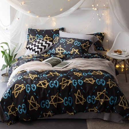 Black Gold and Aqua Blue Star and Monogrammed Hipster Style Sophisticated Design 100% Egyptian Cotton Full, Queen Size Bedding Sets