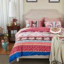 Navy Blue Red Coffee and White Aztec Stripe Print Bohemian Style Southwestern Full, Queen Size Bedding Sets