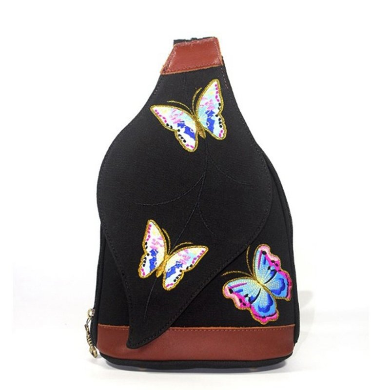 Vintage Black Jean with Brown Distressed Leather Crossbody Shoulder Chest Bag Embroidered Butterfly Bottom Studded Flap Sling Backpack