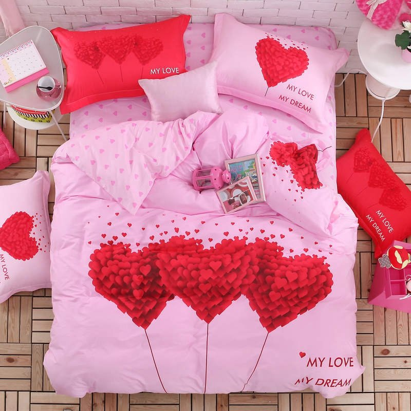 Girls Crimson Red and Hot Pink Love Heart Print Romantic and Elegant Princess Style Personalized 100% Cotton Twin, Full Size Bedding Sets