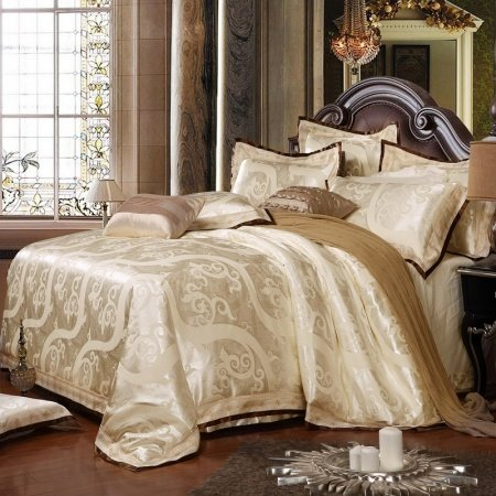 Champagne Gold Abstract Scroll Pattern Embroidered Design Boutique Noble Excellence Sparkly Jacquard Satin Full, Queen Size Bedding Sets