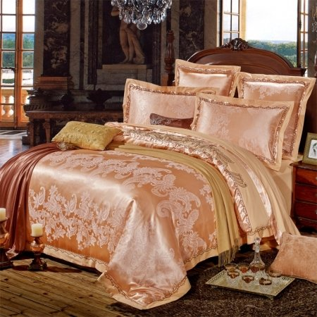 Rose Gold Western Paisley Pattern Indian Themed Abstract Design Sparkly Boutique Jacquard Satin Full, Queen Size Bedding Sets