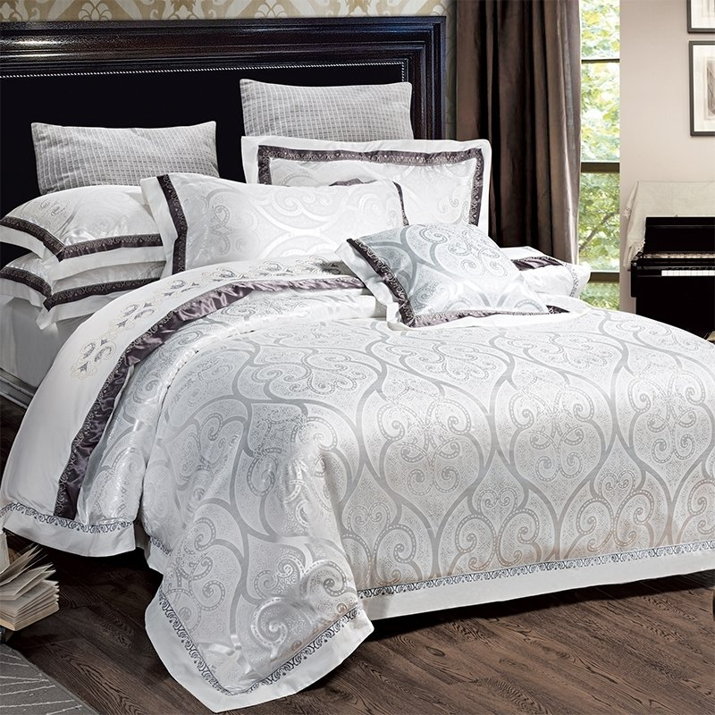Luxury Silver White and Black Abstract Ogee Pattern Sequin Wedding Themed Embroidered Design Jacquard Satin Full, Queen Size Bedding Sets