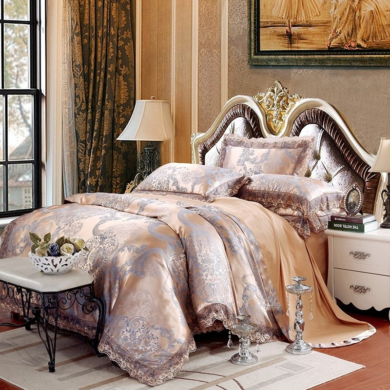Aztec Gold and Steel Blue Scroll Pattern Shabby Chic Old Fashion Soft Jacquard Satin Full, Queen Size Bedding Sets