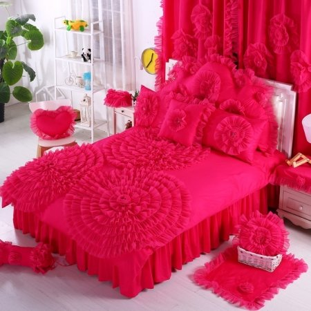 Trendy Cerise Red Ruched Rosette Pattern Gathered Design Elegant Princess Style 100% Cotton Twin, Full, Queen Size Bedding Sets