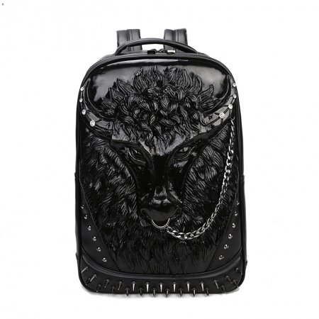 Personalized Black Patent Leather Men Large Travel Backpack Punk Rock and Roll Style Embossed Buffalo Spike Rivet Studded School Book Bag