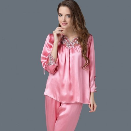 Watermelon Red 100% Nature Silk Long Sleeve Shirt & Pants Gorgeous Elegant Pajamas for Feminine Girly L XL XXL