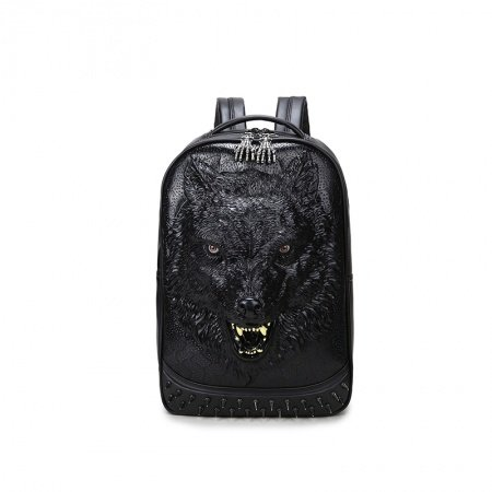 Durable Black Faux Leather Embossed Wolf Head Large Travel Backpack Vintage Punk Rock and Roll Spike Rivet Studded School Campus Book Bag