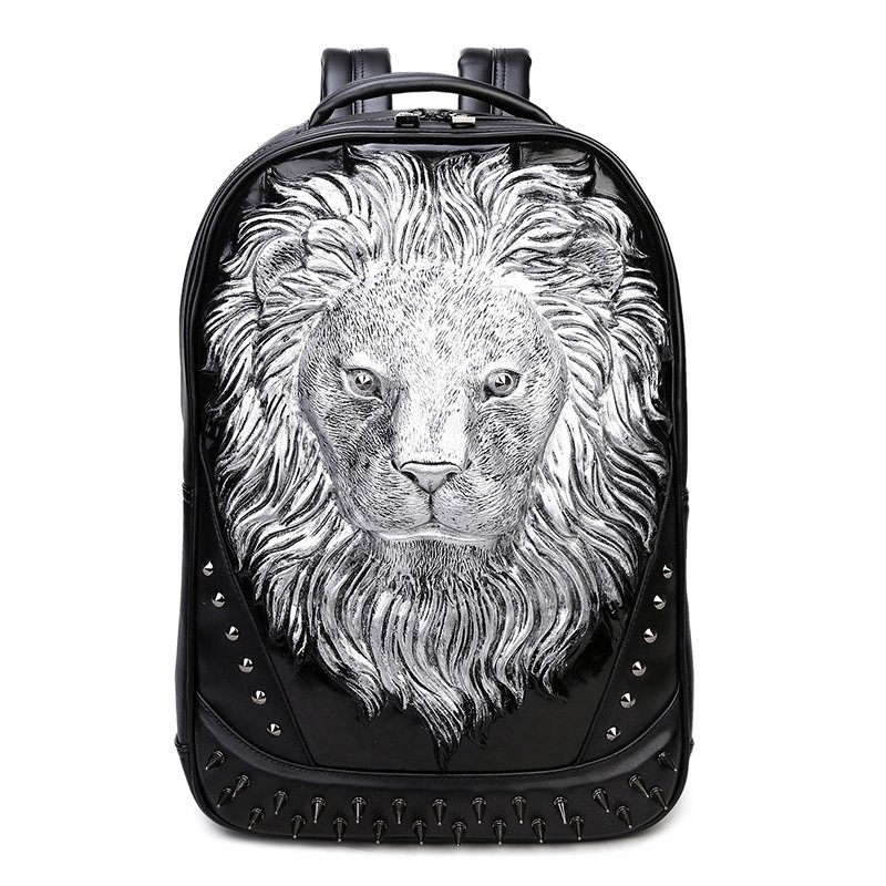 Vintage Black Leather Engraved Metallic Silver Lion Head Boys School Book Bag Punk Rock and Roll Spike Rivet Studded Travel Backpack