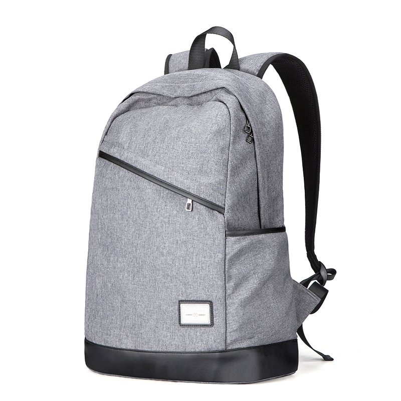 Durable Silver Gray Oxford With Black Leather Cool Boys School Campus Book Bag Hipster Sewing Pattern Casual Travel Laptop Backpack