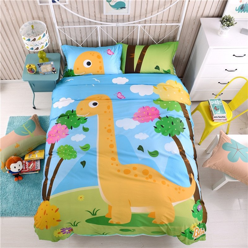 Kids Orange Forest Green and Sky Blue Cartoon Dinosaur Print Cute Style Jungle Themed 100% Cotton Twin, Full Size Bedding Sets