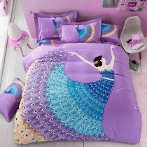 Beautiful Lavender and Peacock Blue Fancy Girl Print Princess Style Vogue Elegant 100% Brushed Cotton Full, Queen Size Bedding Sets