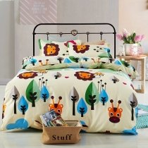 Hipster Green Blue Orange Black and Beige Lion and Giraffe Print Jungle Safari Animal Themed Twin, Full Size Bedding Sets for Kids