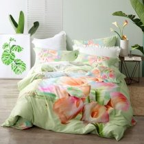 Beautiful Mint Green Coral and Pink Calla Lily Print Vintage Rustic Chic Elegant Girls 100% Cotton Full, Queen Size Bedding Sets