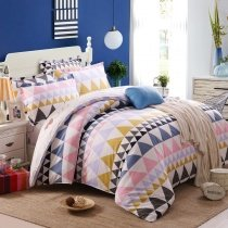 Hipster Grey Pink Orange Black and White Aztec Stripe Print Abstract Fancy Trendy 100% Cotton Twin, Full Size Bedding Sets