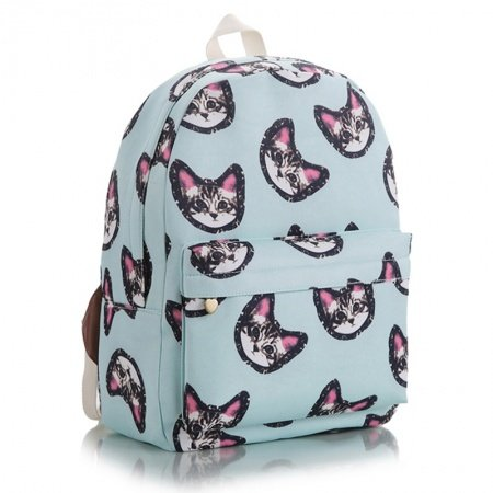 Durable Light Blue Black and Pink Canvas Kids Preppy School Backpack Personalized Cat Print Anti Theft Pupil Medium Campus Book Bag