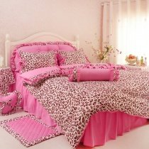 Blush Pink and Brown Sexy Girls Leopard Print Trendy 100% Cotton Twin, Full, Queen Size Bedding Sets