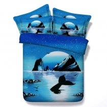 Ocean Themed Island Print 3D Design Twin, Full, Queen, King Size Bedding Sets