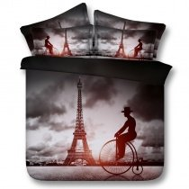 Black White and Grey Paris Eiffel Tower Print French Style Western Style Shabby Chic Twin, Full, Queen, King Size Bedding Sets
