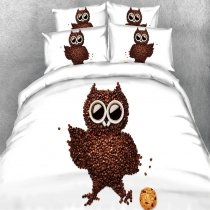 Kids Chocolate Brown and White Night Owl Print Wild Animal Themed Twin, Full, Queen, King Size Bedding Sets