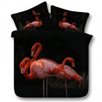 Hipster Black and Pink Flamingo Print Animal Themed Shabby Chic Twin, Full, Queen, King Size Bedding Sets