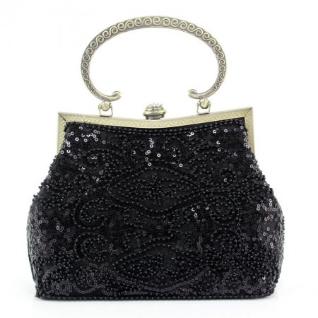 Bohemian Black Polyester Embroidered Floral Metal Handle Women Tote Vintage Magnetic Closure Beaded Chain Small Crossbody Shoulder Bag