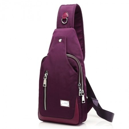 Durable Burgundy Red Canvas Women Small Crossbody Shoulder Chest Bag Boutique Sewing Pattern Sequin Casual Travel Sling Backpack