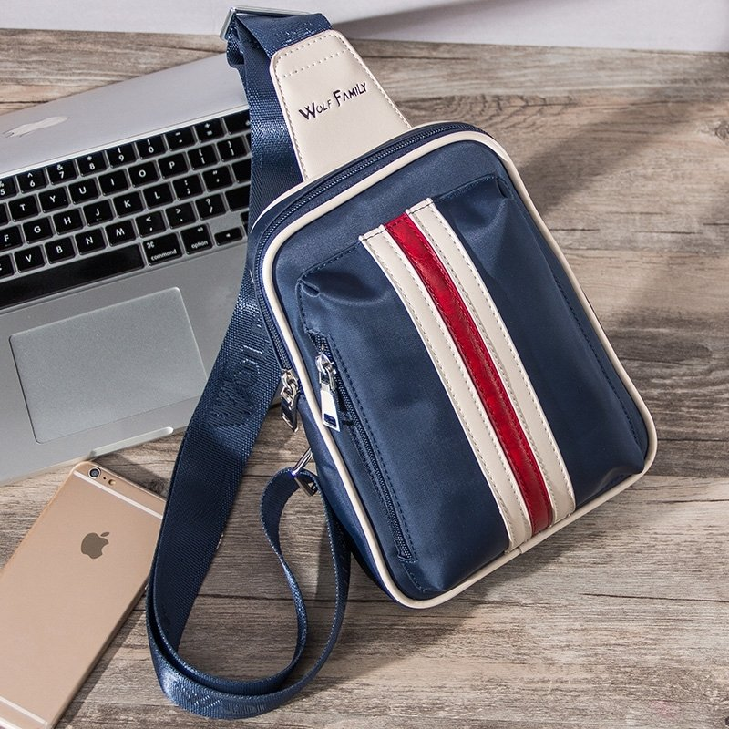 Trend Navy Blue Nylon Masculine Boys Crossbody Shoulder Chest Bag Vertical Stripe Sewing Pattern Zipper Casual Travel Sling Backpack