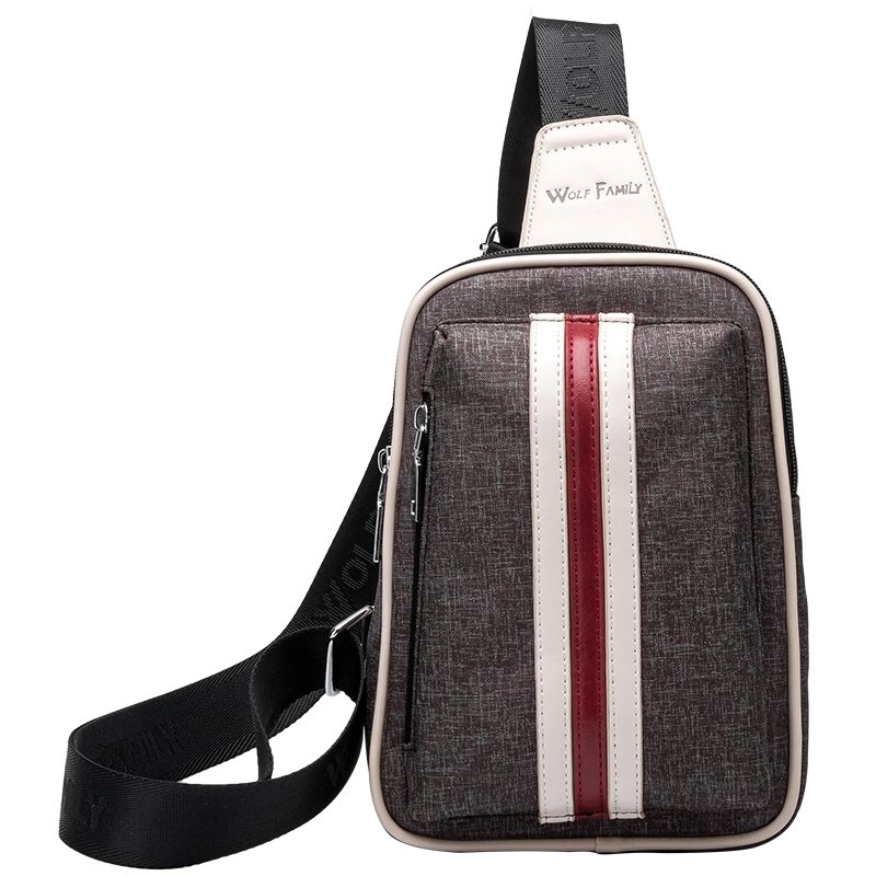 Chocolate Brown Nylon Masculine Men Crossbody Shoulder Chest Bag Boutique Vertical Stripe Casual Travel Hiking Cycling Sling Backpack